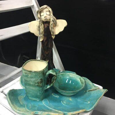 gotowe anioły i miseczki ceramiczne